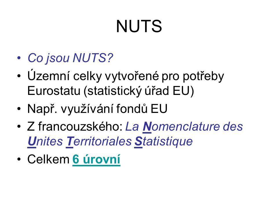 NUTS Co jsou NUTS? Územní celky vytvořené pro potřeby Eurostatu (statistický úřad EU) Např. využívání fondů EU Z francouzského: La Nomenclature des Un
