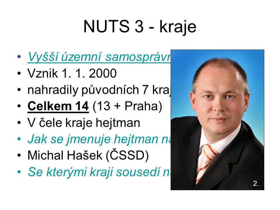 NUTS 3 - kraje Vyšší územní samosprávní celky (VÚSC) Vznik 1. 1. 2000 nahradily původních 7 krajů Celkem 14 (13 + Praha) V čele kraje hejtman Jak se j