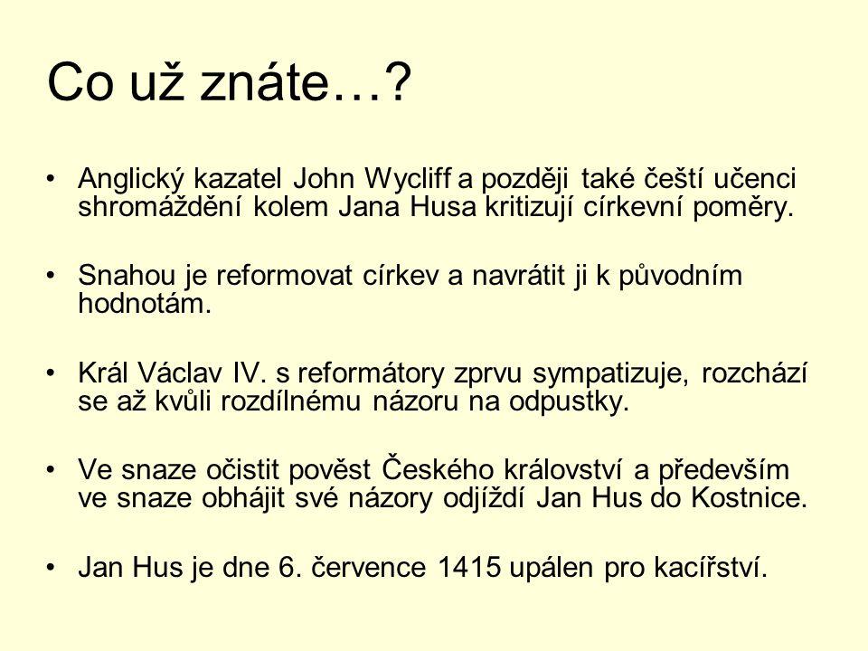 Reakce na Husovu smrt Husova smrt vyvolala v Čechách bouři odporu, 450 pánů a rytířů zaslalo do Kostnice protestní list.
