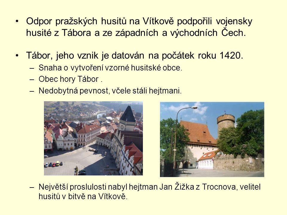 Odpor pražských husitů na Vítkově podpořili vojensky husité z Tábora a ze západních a východních Čech.