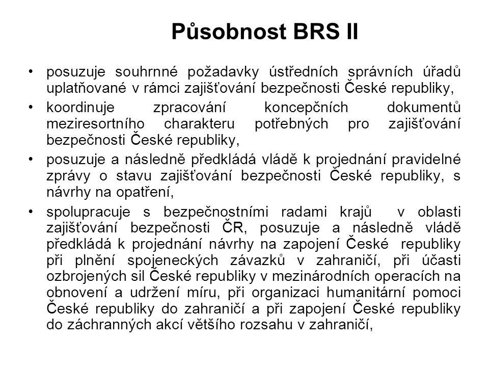 Působnost BRS I BRS koordinuje a vyhodnocuje problematiku bezpečnosti státu a připravuje vládě návrhy opatření jejímu zajišťování. Přitom plní zejména