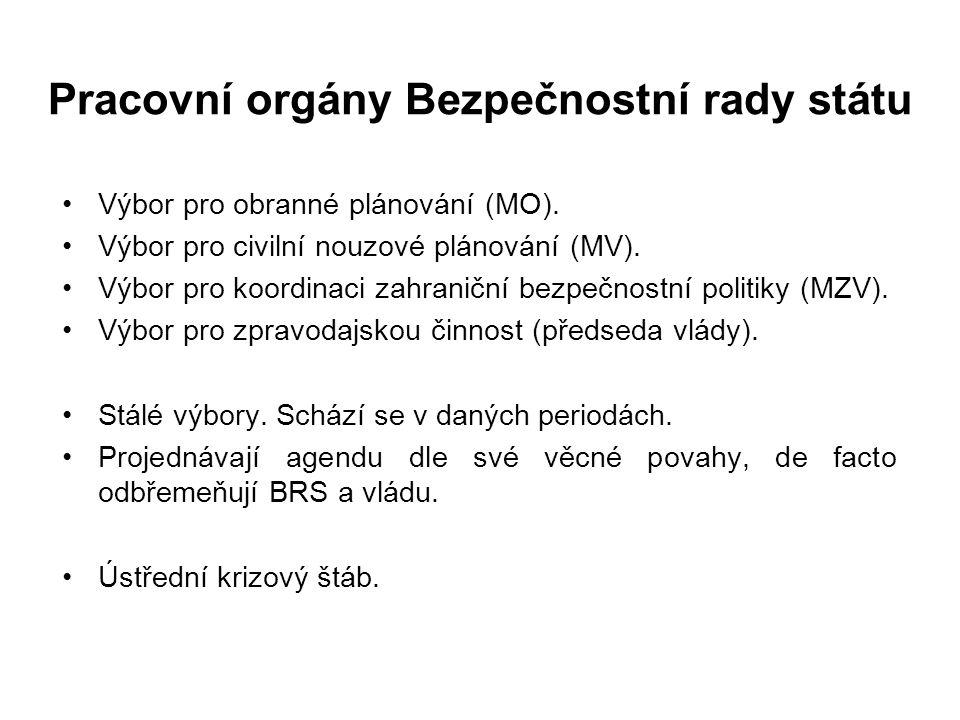 Příklady činnosti BRS Materiály jednorázové, periodické či dle potřeby. Bezpečnostní strategie České republiky (ÚV, MV atd.) Zpráva o bezpečnostní sit