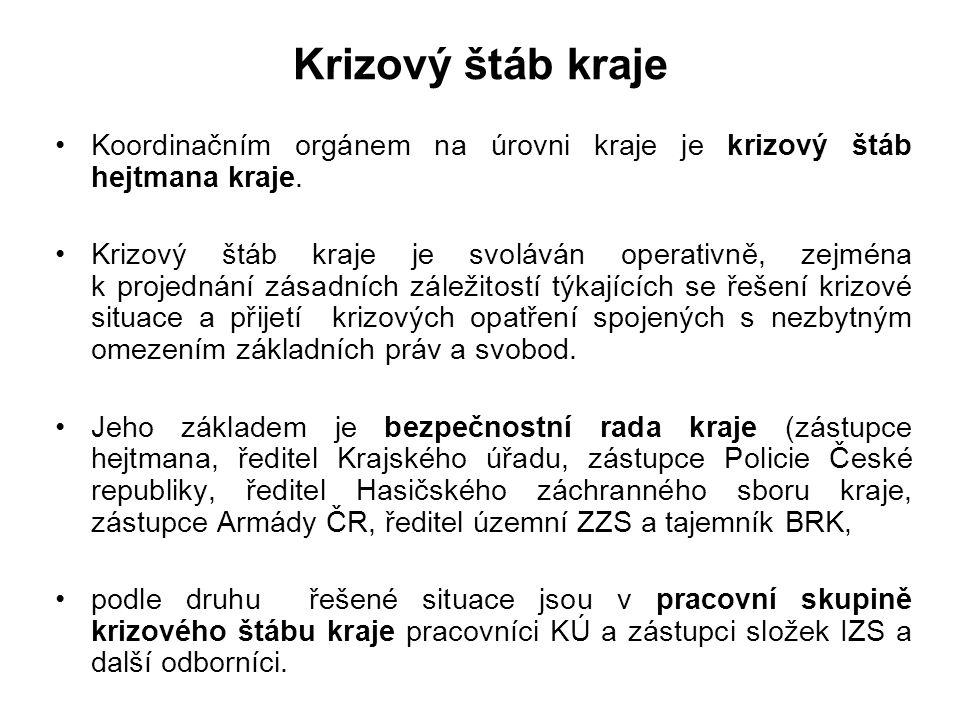 Složení stálé pracovní skupiny KŠK 1. Tajemník KŠK 2. Vedoucí pracovních skupin KŠK (pro nasazení sil a prostředků, pro analýzu, pro materiální zajišt