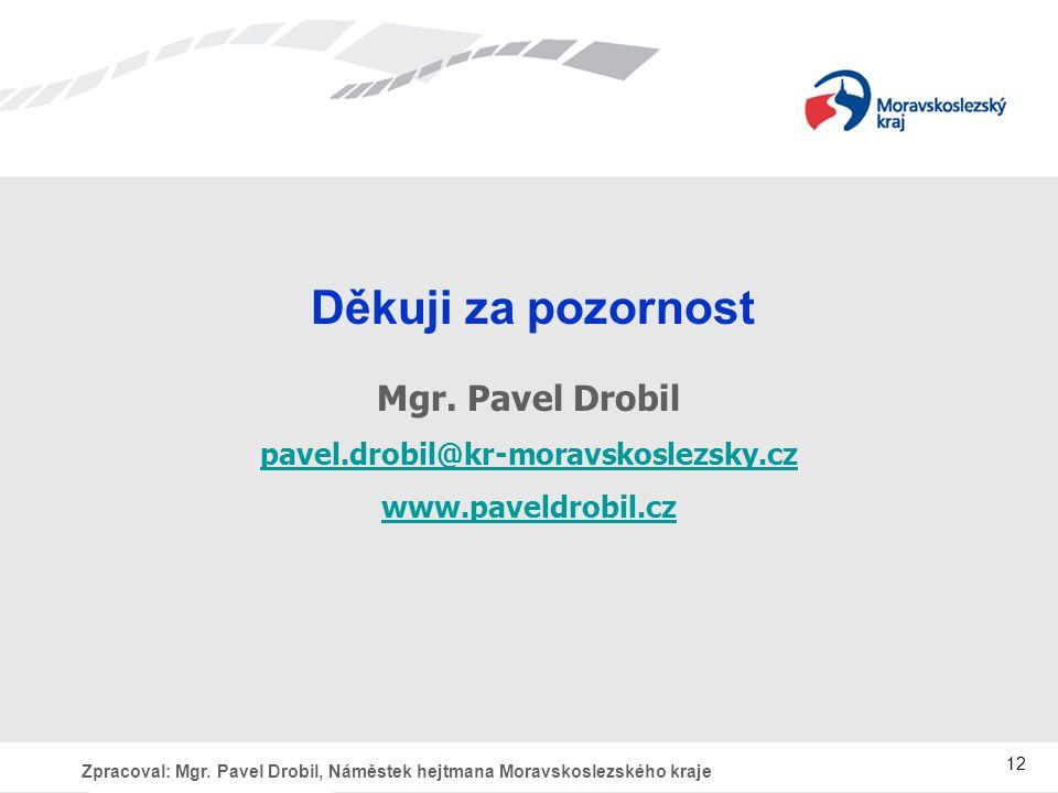 Zpracoval: Mgr.Pavel Drobil, Náměstek hejtmana Moravskoslezského kraje 12 Děkuji za pozornost Mgr.