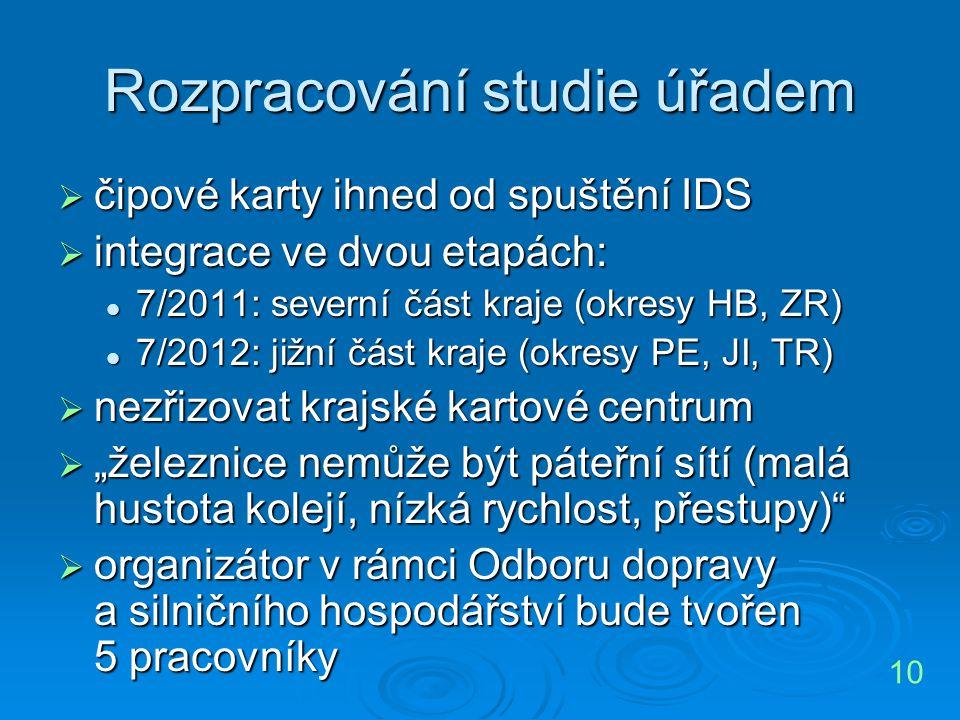 Rozpracování studie úřadem  čipové karty ihned od spuštění IDS  integrace ve dvou etapách: 7/2011: severní část kraje (okresy HB, ZR) 7/2011: severn