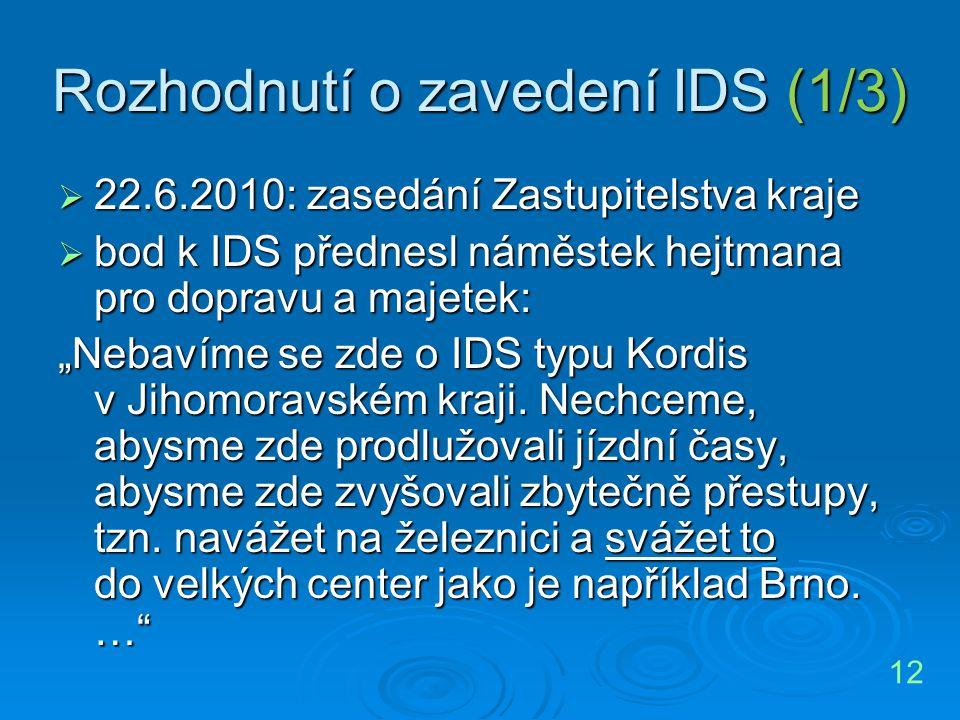 """Rozhodnutí o zavedení IDS (1/3)  22.6.2010: zasedání Zastupitelstva kraje  bod k IDS přednesl náměstek hejtmana pro dopravu a majetek: """"Nebavíme se"""