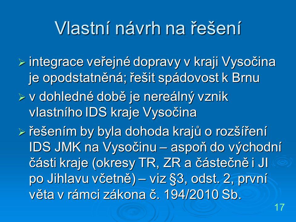 Vlastní návrh na řešení  integrace veřejné dopravy v kraji Vysočina je opodstatněná; řešit spádovost k Brnu  v dohledné době je nereálný vznik vlast