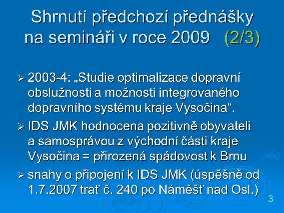 """Shrnutí předchozí přednášky na semináři v roce 2009 (2/3)  2003-4: """"Studie optimalizace dopravní obslužnosti a možnosti integrovaného dopravního syst"""