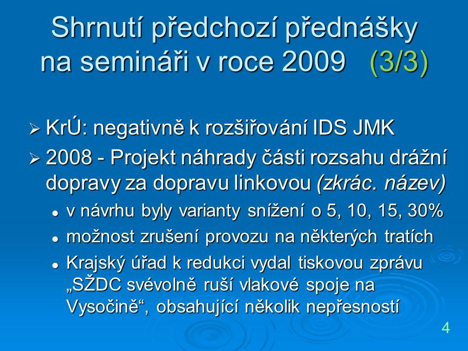 Shrnutí předchozí přednášky na semináři v roce 2009 (3/3)  KrÚ: negativně k rozšiřování IDS JMK  2008 - Projekt náhrady části rozsahu drážní dopravy