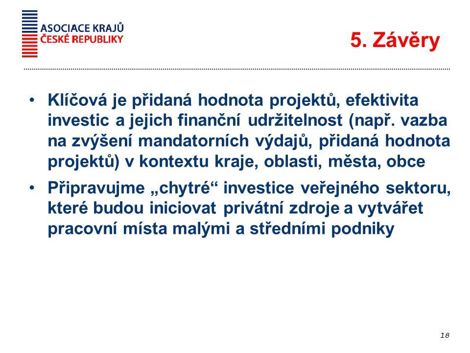 Klíčová je přidaná hodnota projektů, efektivita investic a jejich finanční udržitelnost (např.