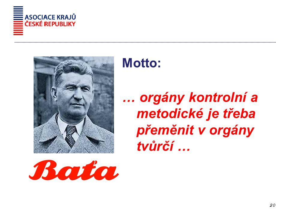 Motto: … orgány kontrolní a metodické je třeba přeměnit v orgány tvůrčí … 20