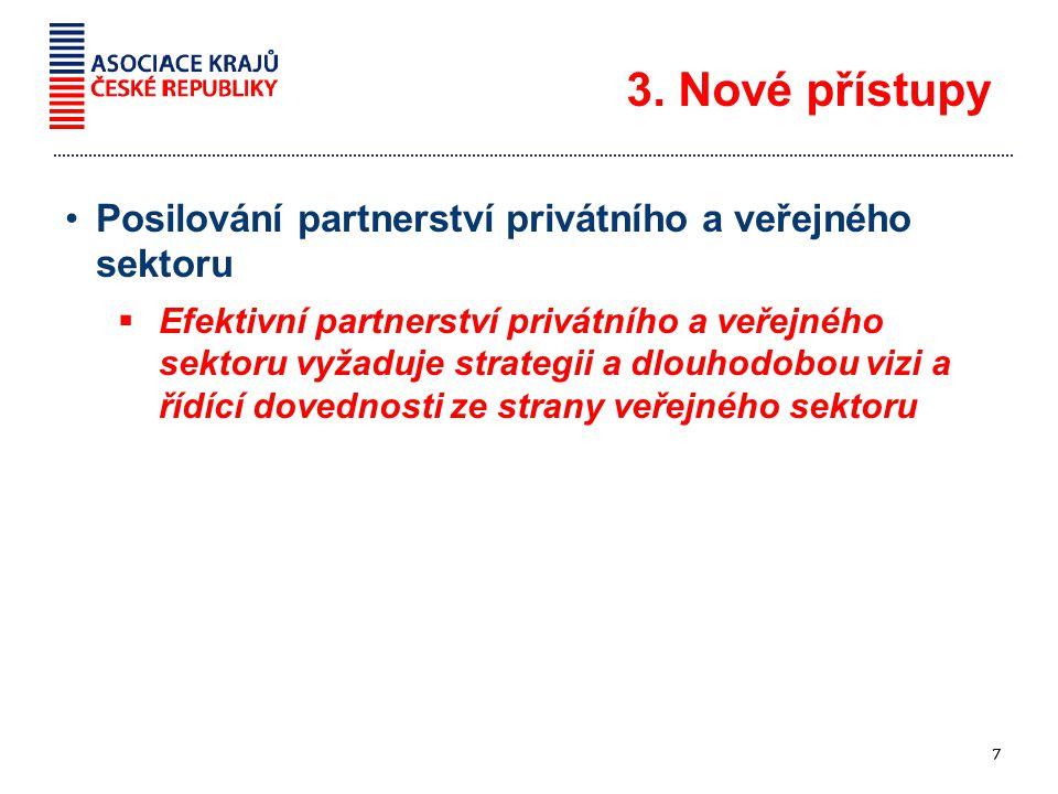 Posilování partnerství privátního a veřejného sektoru  Efektivní partnerství privátního a veřejného sektoru vyžaduje strategii a dlouhodobou vizi a řídící dovednosti ze strany veřejného sektoru 3.