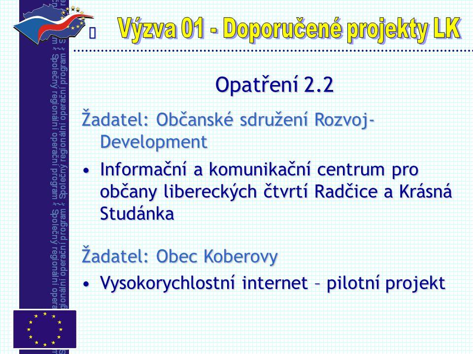  Opatření 2.2 Žadatel: Občanské sdružení Rozvoj- Development Informační a komunikační centrum pro občany libereckých čtvrtí Radčice a Krásná Studánka