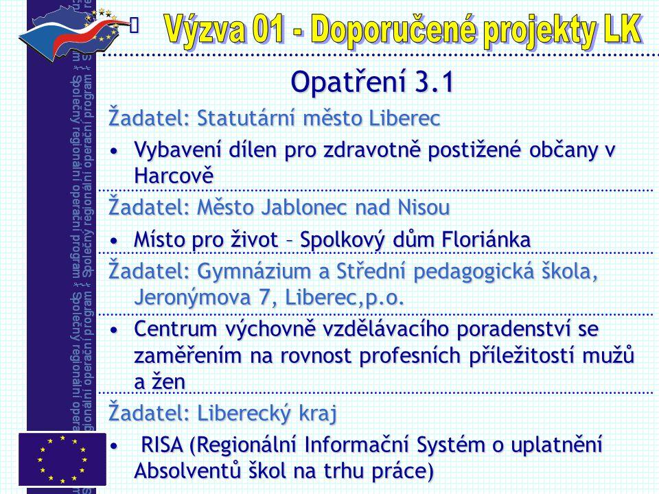  Opatření 3.1 Žadatel: Statutární město Liberec Vybavení dílen pro zdravotně postižené občany v HarcověVybavení dílen pro zdravotně postižené občany