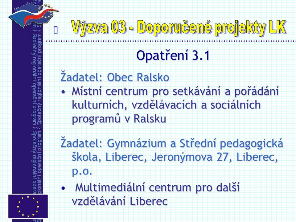  Opatření 3.1 Žadatel: Obec Ralsko Místní centrum pro setkávání a pořádání kulturních, vzdělávacích a sociálních programů v RalskuMístní centrum pro