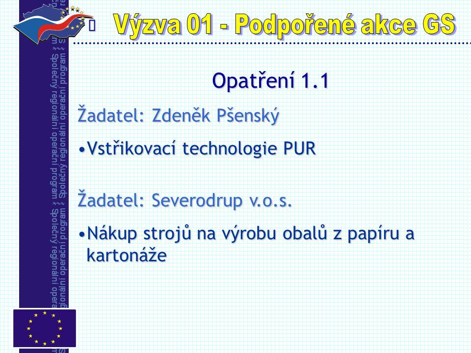  Opatření 1.1 Žadatel: Zdeněk Pšenský Vstřikovací technologie PURVstřikovací technologie PUR Žadatel: Severodrup v.o.s.