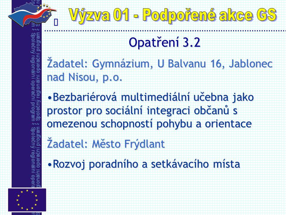  Opatření 3.2 Žadatel: Gymnázium, U Balvanu 16, Jablonec nad Nisou, p.o.