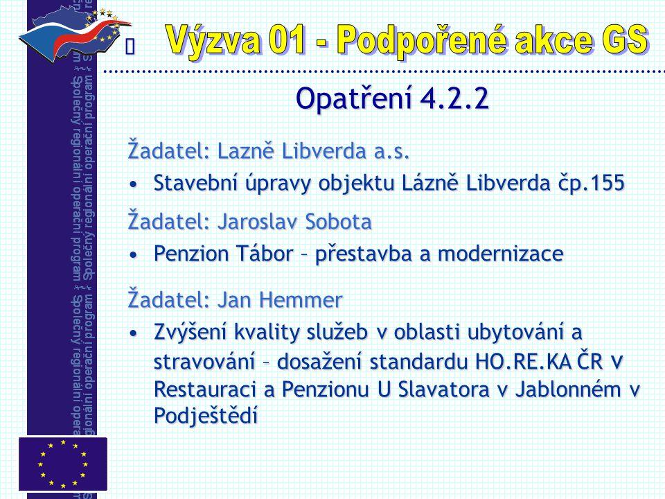  Opatření 4.2.2 Žadatel: Lazně Libverda a.s. Stavební úpravy objektu Lázně Libverda čp.155Stavební úpravy objektu Lázně Libverda čp.155 Žadatel: Jaro