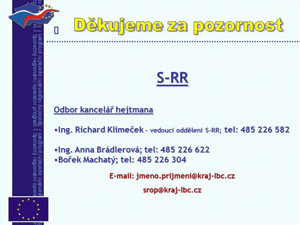  S-RR Odbor kancelář hejtmana Ing. Richard Klimeček – vedoucí oddělení S-RR; tel: 485 226 582Ing. Richard Klimeček – vedoucí oddělení S-RR; tel: 485