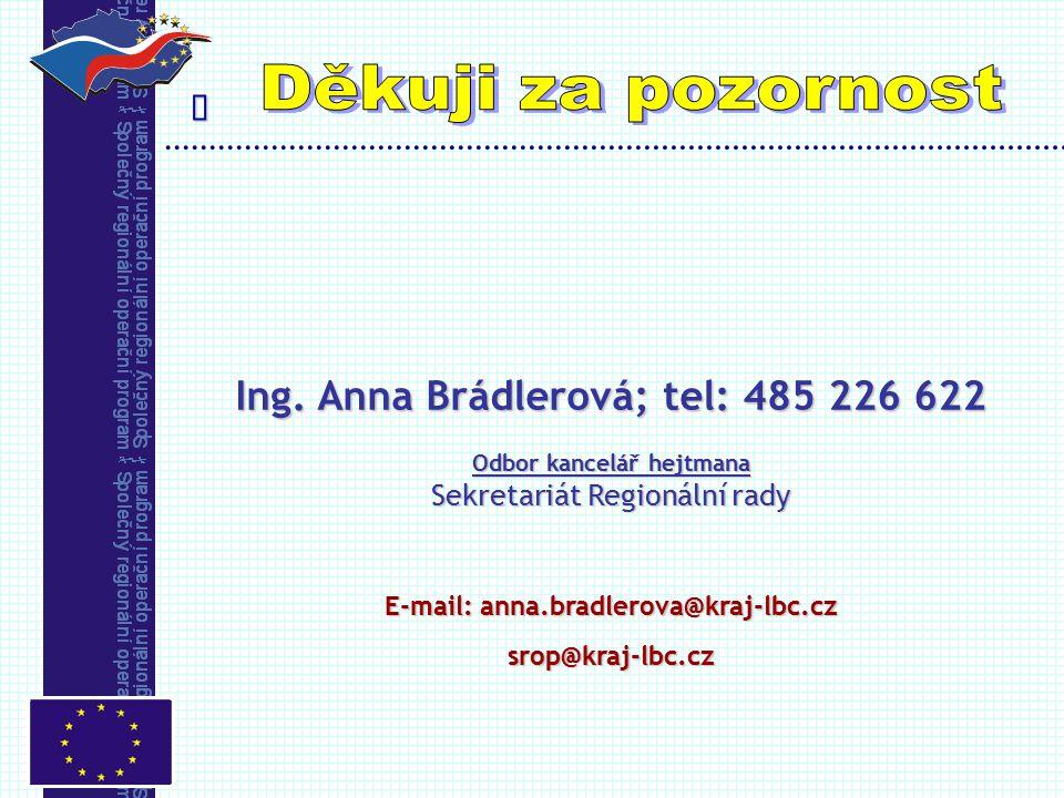  Ing. Anna Brádlerová; tel: 485 226 622 Odbor kancelář hejtmana Sekretariát Regionální rady E-mail: anna.bradlerova@kraj-lbc.cz srop@kraj-lbc.cz