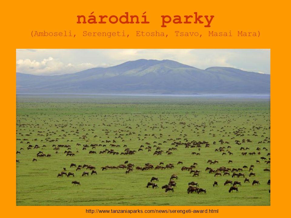národní parky (Amboseli, Serengeti, Etosha, Tsavo, Masai Mara) http://www.tanzaniaparks.com/news/serengeti-award.html