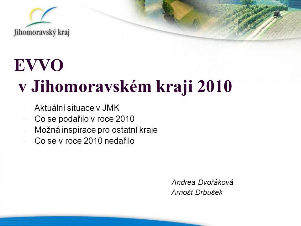 EVVO v Jihomoravském kraji 2010 - Aktuální situace v JMK - Co se podařilo v roce 2010 - Možná inspirace pro ostatní kraje - Co se v roce 2010 nedařilo Andrea Dvořáková Arnošt Drbušek