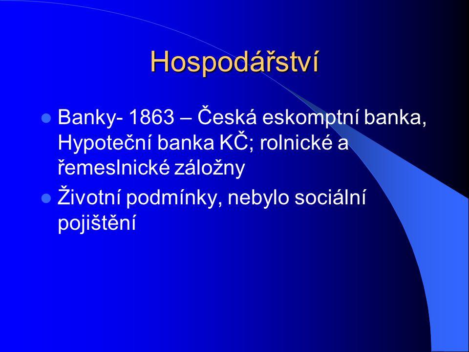 Hospodářství Banky- 1863 – Česká eskomptní banka, Hypoteční banka KČ; rolnické a řemeslnické záložny Životní podmínky, nebylo sociální pojištění