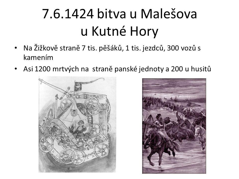 7.6.1424 bitva u Malešova u Kutné Hory Na Žižkově straně 7 tis.