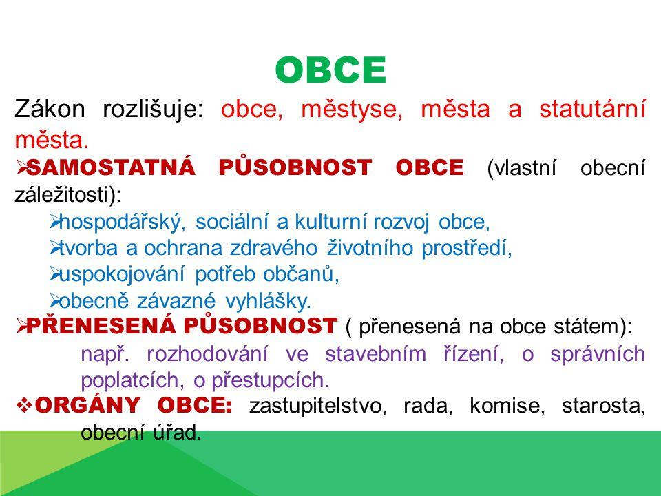 OBCE Zákon rozlišuje: obce, městyse, města a statutární města.
