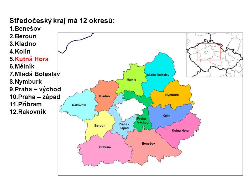 Středočeský kraj má 12 okresů: 1.Benešov 2.Beroun 3.Kladno 4.Kolín 5.Kutná Hora 6.Mělník 7.Mladá Boleslav 8.Nymburk 9.Praha – východ 10.Praha – západ