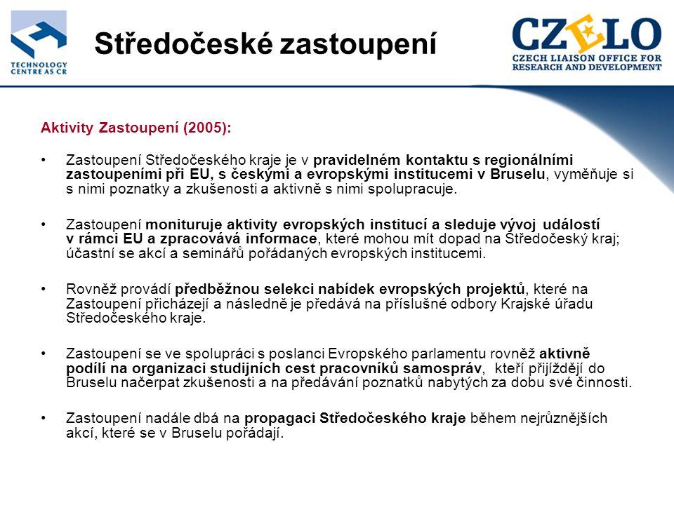 Středočeské zastoupení Aktivity Zastoupení (2005): Zastoupení Středočeského kraje je v pravidelném kontaktu s regionálními zastoupeními při EU, s českými a evropskými institucemi v Bruselu, vyměňuje si s nimi poznatky a zkušenosti a aktivně s nimi spolupracuje.