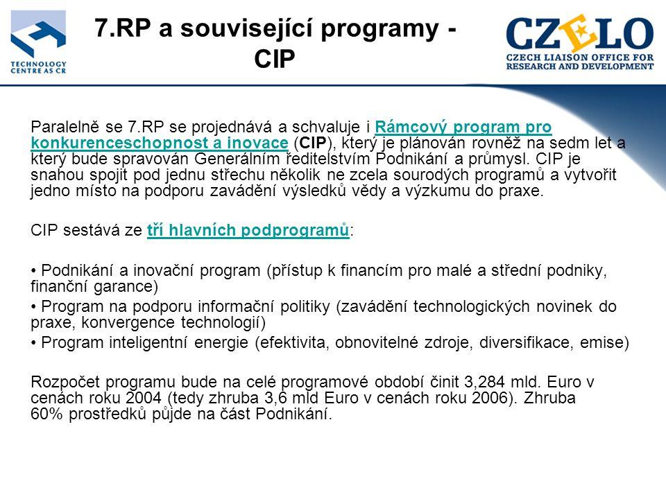7.RP a související programy - CIP Paralelně se 7.RP se projednává a schvaluje i Rámcový program pro konkurenceschopnost a inovace (CIP), který je plánován rovněž na sedm let a který bude spravován Generálním ředitelstvím Podnikání a průmysl.