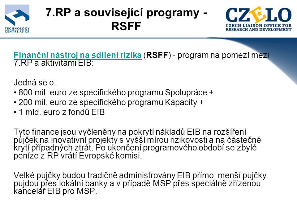 7.RP a související programy - RSFF Finanční nástroj na sdílení rizikaFinanční nástroj na sdílení rizika (RSFF) - program na pomezí mezi 7.RP a aktivitami EIB: Jedná se o: 800 mil.