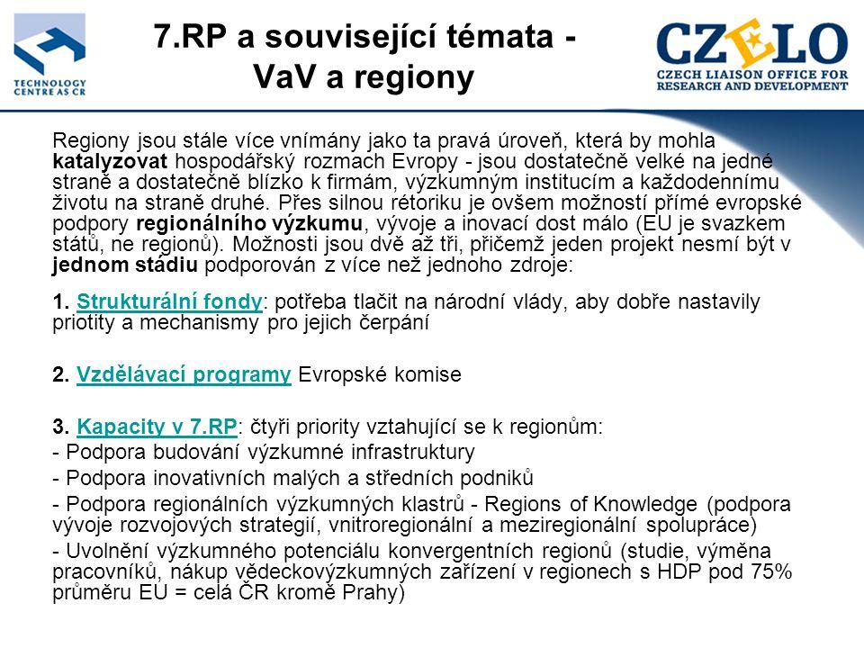 7.RP a související témata - VaV a regiony Regiony jsou stále více vnímány jako ta pravá úroveň, která by mohla katalyzovat hospodářský rozmach Evropy - jsou dostatečně velké na jedné straně a dostatečně blízko k firmám, výzkumným institucím a každodennímu životu na straně druhé.