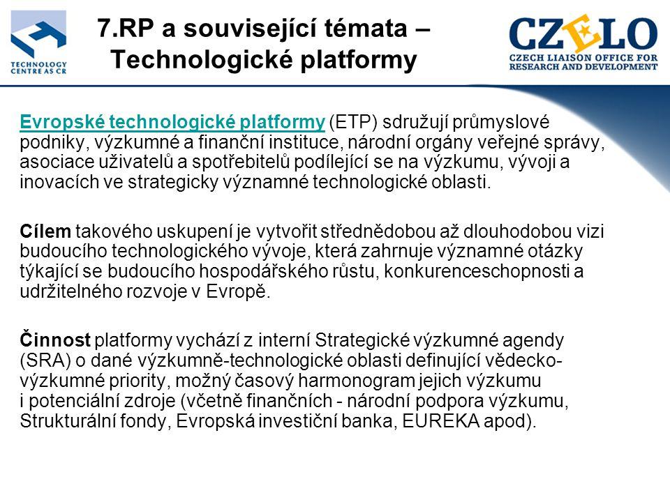 7.RP a související témata – Technologické platformy Evropské technologické platformyEvropské technologické platformy (ETP) sdružují průmyslové podniky, výzkumné a finanční instituce, národní orgány veřejné správy, asociace uživatelů a spotřebitelů podílející se na výzkumu, vývoji a inovacích ve strategicky významné technologické oblasti.