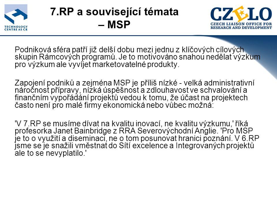 7.RP a související témata – MSP Podniková sféra patří již delší dobu mezi jednu z klíčových cílových skupin Rámcových programů.