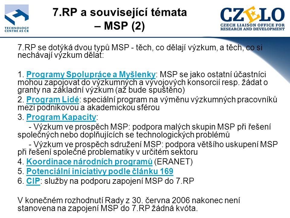 7.RP a související témata – MSP (2) 7.RP se dotýká dvou typů MSP - těch, co dělají výzkum, a těch, co si nechávají výzkum dělat: 1.