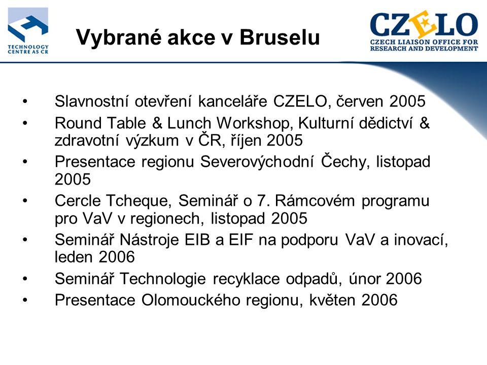 Vybrané akce v Bruselu Slavnostní otevření kanceláře CZELO, červen 2005 Round Table & Lunch Workshop, Kulturní dědictví & zdravotní výzkum v ČR, říjen 2005 Presentace regionu Severovýchodní Čechy, listopad 2005 Cercle Tcheque, Seminář o 7.