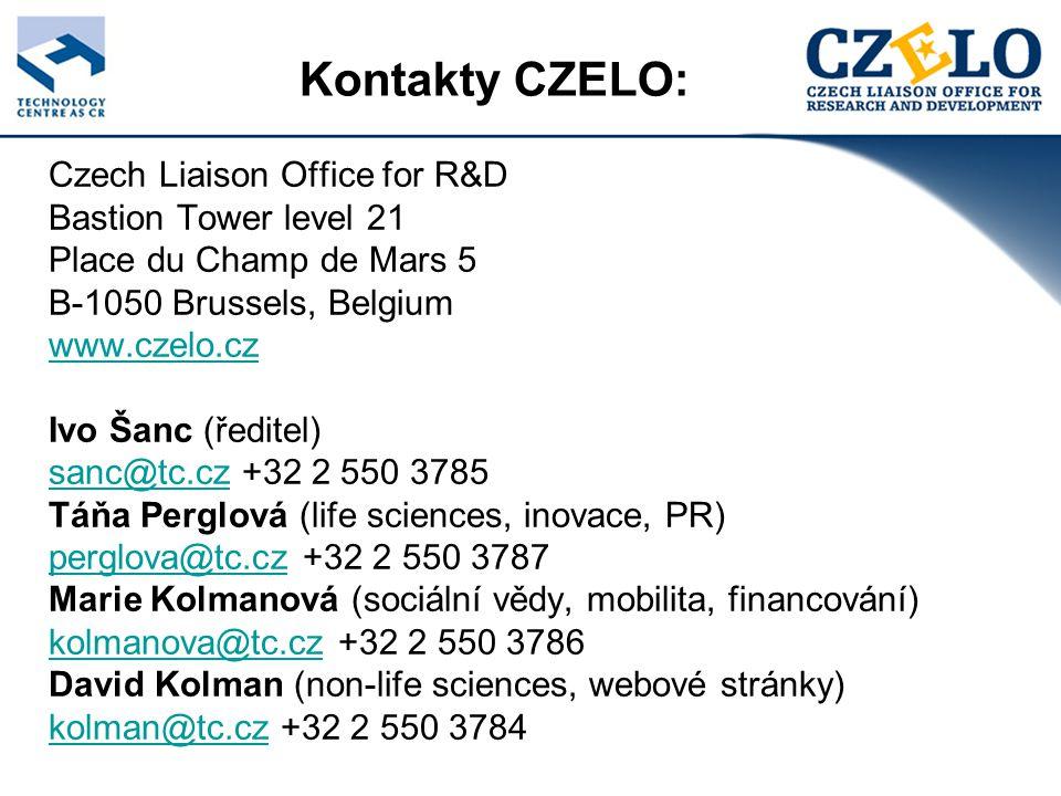 Kontakty CZELO: Czech Liaison Office for R&D Bastion Tower level 21 Place du Champ de Mars 5 B-1050 Brussels, Belgium www.czelo.cz Ivo Šanc (ředitel) sanc@tc.czsanc@tc.cz +32 2 550 3785 Táňa Perglová (life sciences, inovace, PR) perglova@tc.czperglova@tc.cz +32 2 550 3787 Marie Kolmanová (sociální vědy, mobilita, financování) kolmanova@tc.czkolmanova@tc.cz +32 2 550 3786 David Kolman (non-life sciences, webové stránky) kolman@tc.czkolman@tc.cz +32 2 550 3784