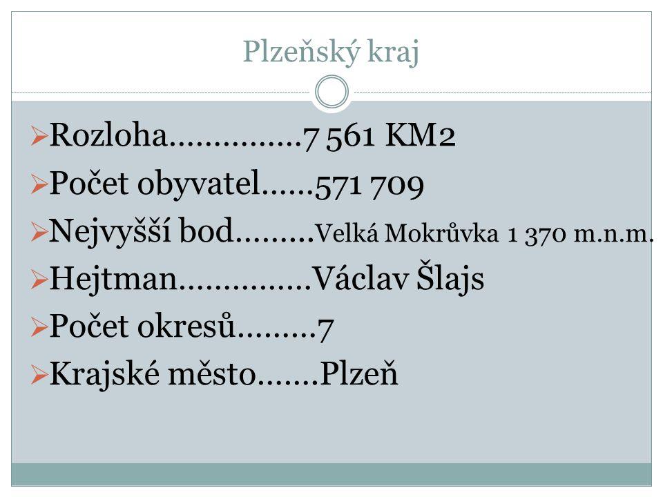 Plzeňský kraj  Rozloha……………7 561 KM2  Počet obyvatel……571 709  Nejvyšší bod……... Velká Mokrůvka 1 370 m.n.m.  Hejtman……………Václav Šlajs  Počet okr