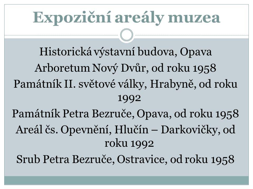 Expoziční areály muzea Historická výstavní budova, Opava Arboretum Nový Dvůr, od roku 1958 Památník II.