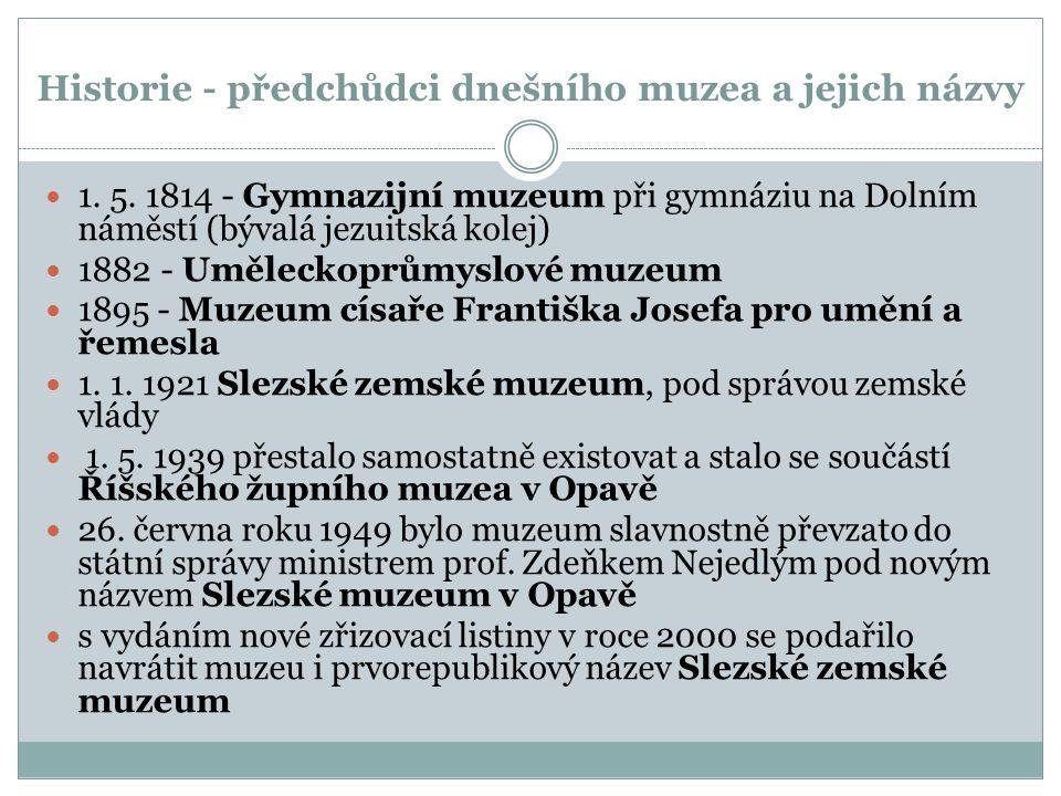 Historie - předchůdci dnešního muzea a jejich názvy 1.