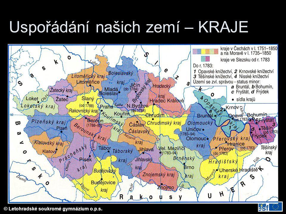 © Letohradské soukromé gymnázium o.p.s. Uspořádání našich zemí – KRAJE