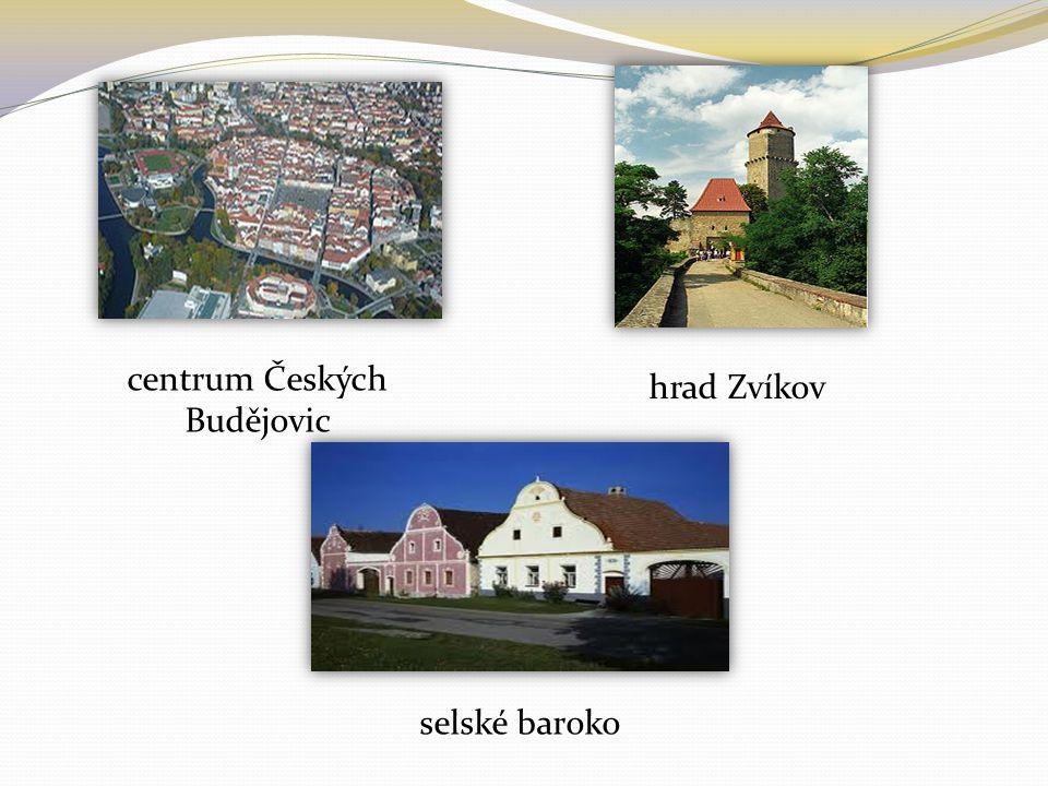 centrum Českých Budějovic hrad Zvíkov selské baroko
