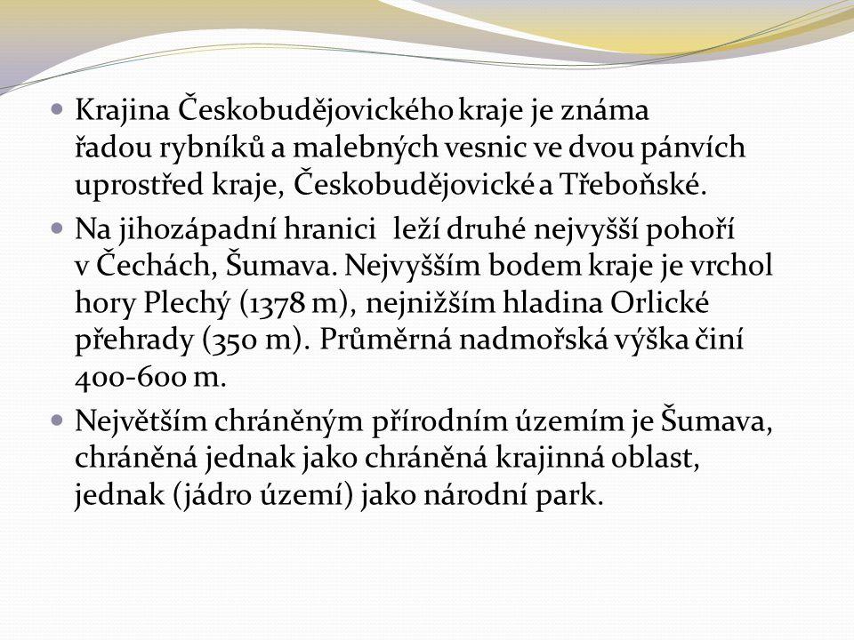 Krajina Českobudějovického kraje je známa řadou rybníků a malebných vesnic ve dvou pánvích uprostřed kraje, Českobudějovické a Třeboňské. Na jihozápad