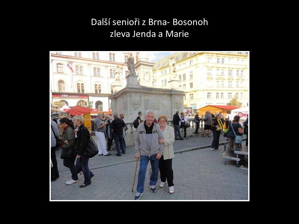 Senioři z Bosonoh první zleva Josef, Vlasta a Jaromíra, seniorka z Kanady-bývalá občanka Bosonoh