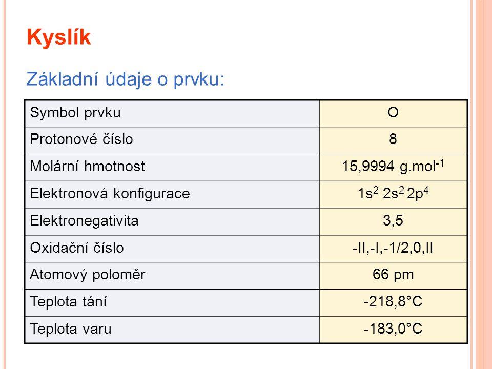 Kyslík Symbol prvkuO Protonové číslo8 Molární hmotnost15,9994 g.mol -1 Elektronová konfigurace1s 2 2s 2 2p 4 Elektronegativita3,5 Oxidační číslo-II,-I,-1/2,0,II Atomový poloměr66 pm Teplota tání-218,8°C Teplota varu-183,0°C Základní údaje o prvku: