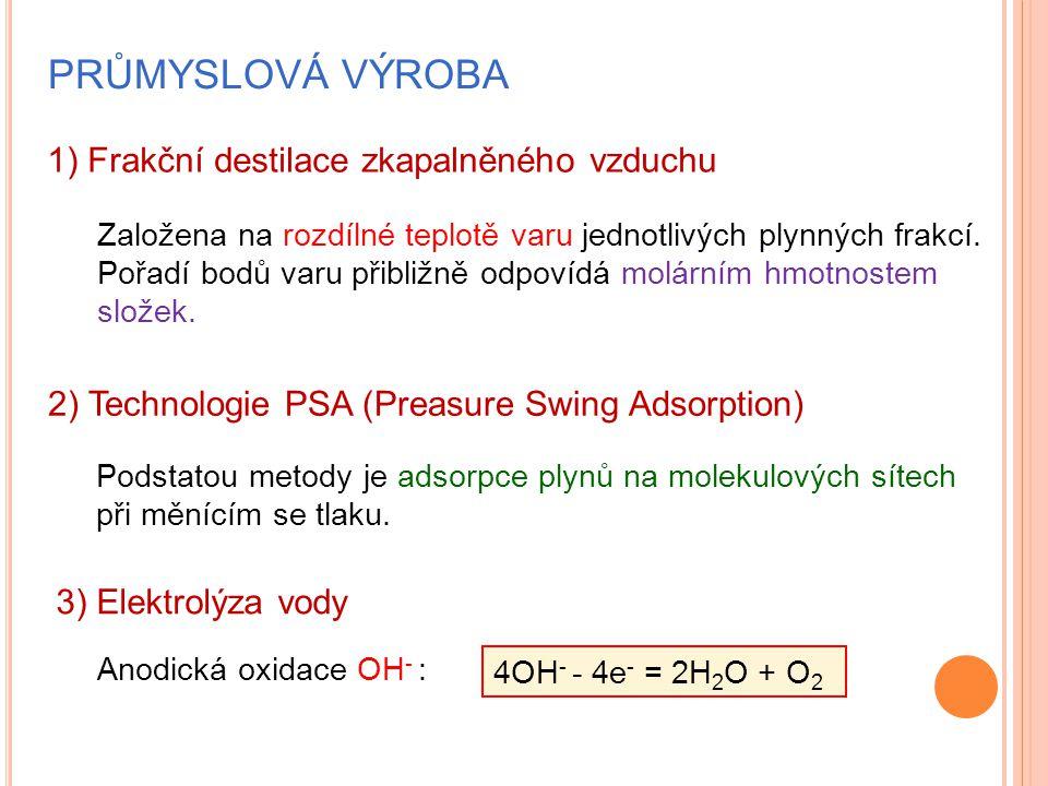 PRŮMYSLOVÁ VÝROBA 1) Frakční destilace zkapalněného vzduchu 2) Technologie PSA (Preasure Swing Adsorption) 3) Elektrolýza vody Založena na rozdílné teplotě varu jednotlivých plynných frakcí.