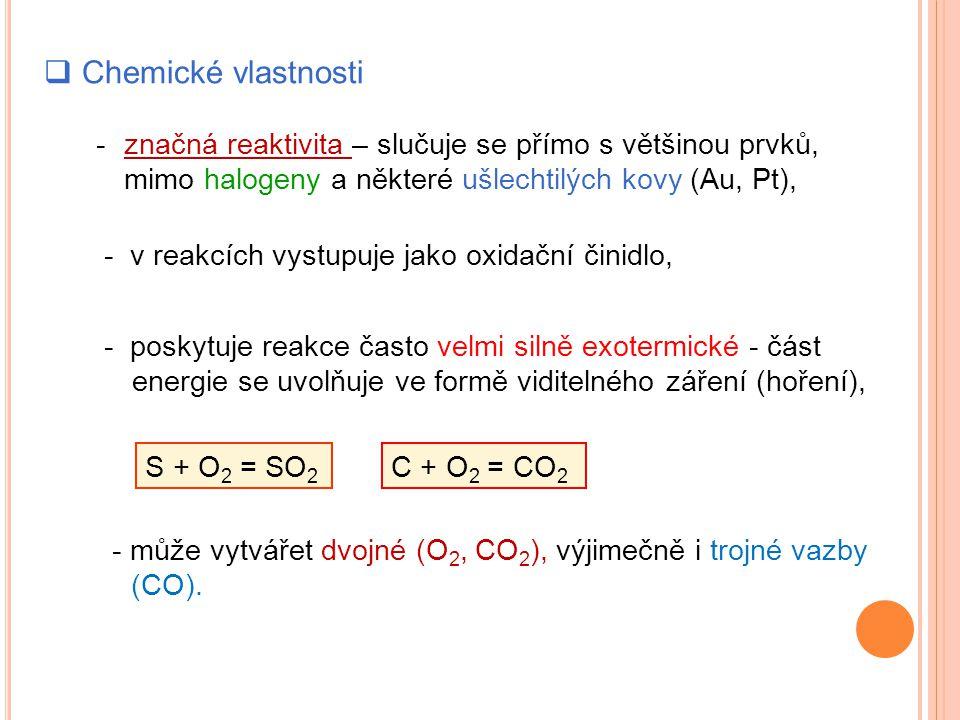  Chemické vlastnosti - značná reaktivita – slučuje se přímo s většinou prvků, mimo halogeny a některé ušlechtilých kovy (Au, Pt), - v reakcích vystupuje jako oxidační činidlo, - poskytuje reakce často velmi silně exotermické - část energie se uvolňuje ve formě viditelného záření (hoření), S + O 2 = SO 2 C + O 2 = CO 2 - může vytvářet dvojné (O 2, CO 2 ), výjimečně i trojné vazby (CO).