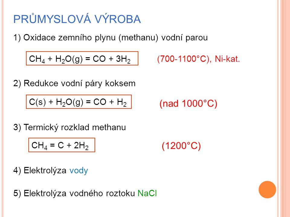 PRŮMYSLOVÁ VÝROBA 1) Oxidace zemního plynu (methanu) vodní parou CH 4 + H 2 O(g) = CO + 3H 2 (700-1100°C), Ni-kat.